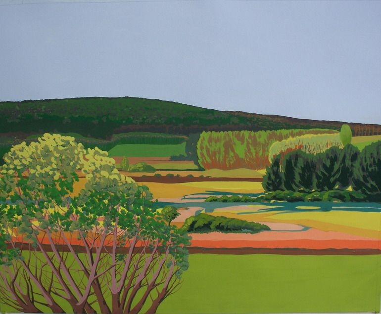"""Saatchi Online Artist: janet darley; Gouache 2012 Painting """"Towards Clowes Wood from Seasalter Flats"""""""