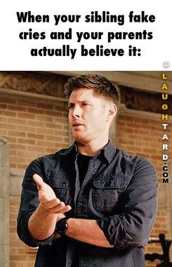 When your sibling fake cries | Funny Pictures | Supernatural dean