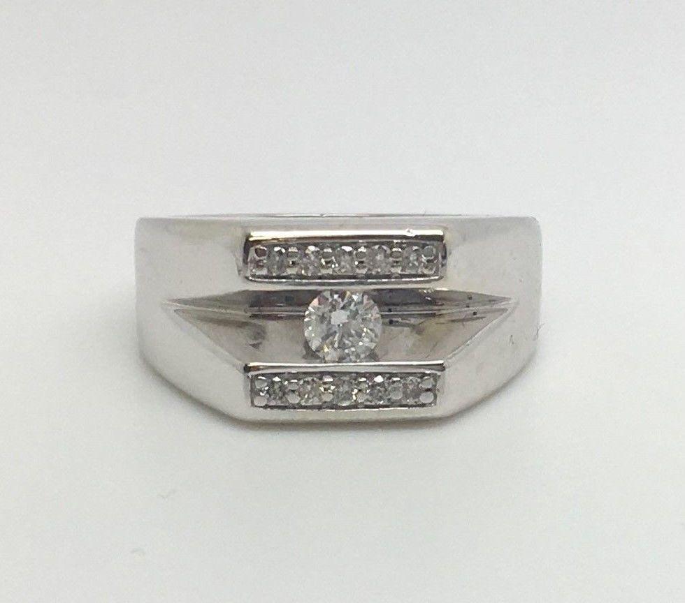 10K WHITE GOLD MENS .0375CT DIAMOND RING SIZE 8 | Jewelry & Watches, Men's Jewelry, Rings | eBay!