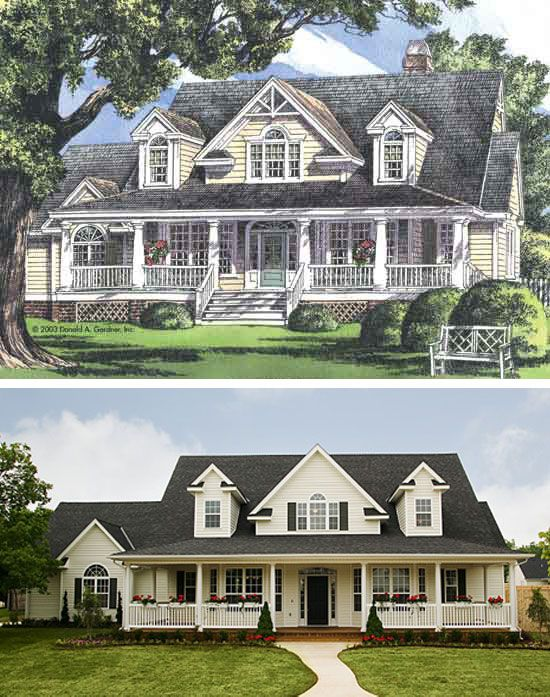 Plan 1011 The Santee At Www Dongardner Com Columns And Dormers Accent A Deep Porch While Gables And Half Palladian Window Cottage In The Woods House Plans