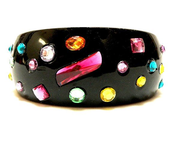 """1980s New Wave LUCITE Rhinestone Colorful Gem Clamper Bracelet"" #80s #jewelry #bangle #gemstones #color #handmade #bracelet"