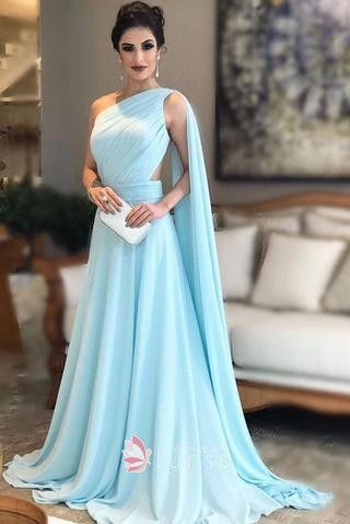 5a17fe7122 Grecian style one shoulder light blue chiffon floor length formal gown for  prom party
