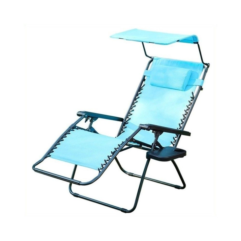 Oversized Zero Gravity Chair with Sunshade in Pacific Blue