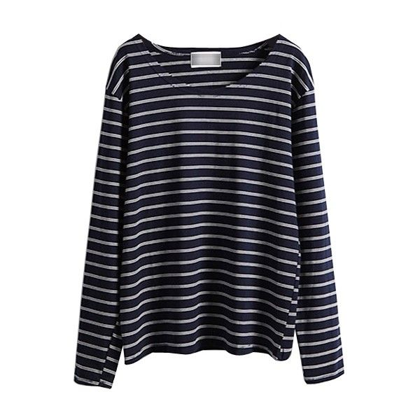 Long Sleeve Round Neck Striped T-Shirt (74.510 COP) ❤ liked on Polyvore featuring tops, t-shirts, shirts, long sleeves, sweaters, navy blue t shirt, long-sleeve shirt, blue long sleeve shirt, striped t shirt and striped shirt