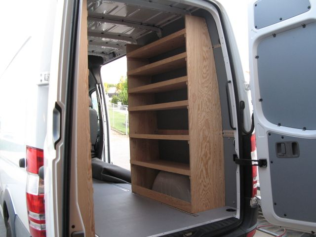 Wood Shelving Storage Sprinter Forum Van Organization Van Racking Wood Shelves Van Shelving