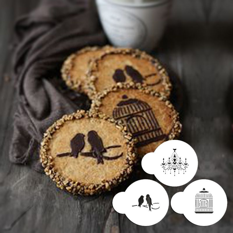 Mini Love Birds Chandelier Plastic Cake And Cookie Stencil Set For Decoration Coffee Cookies