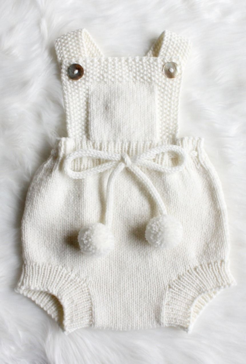 Charlie Hand Knitted Romper Pom Pom Ties Gender Neutral