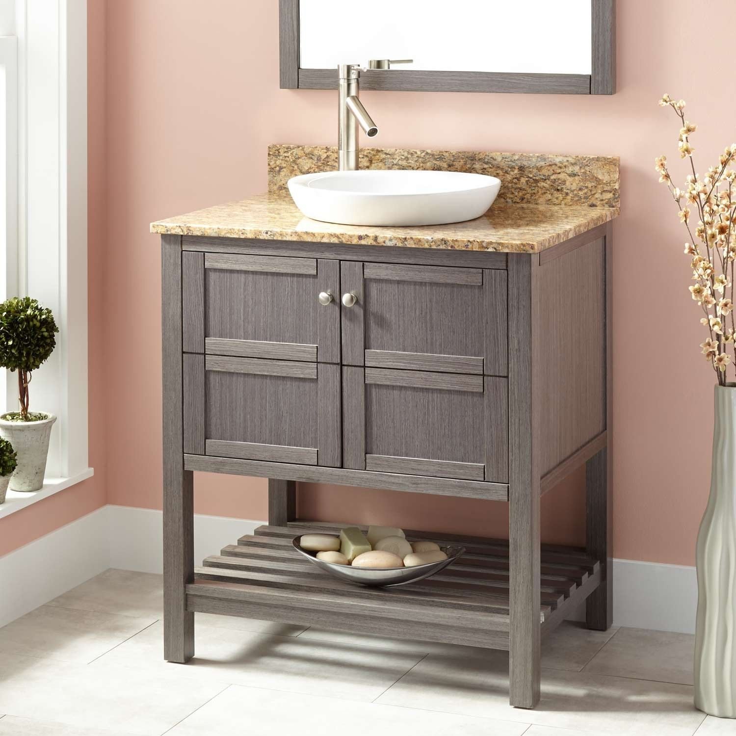 """Small Bathroom Addition 30"""" everett vanity for semi recessed sink - gray pear 