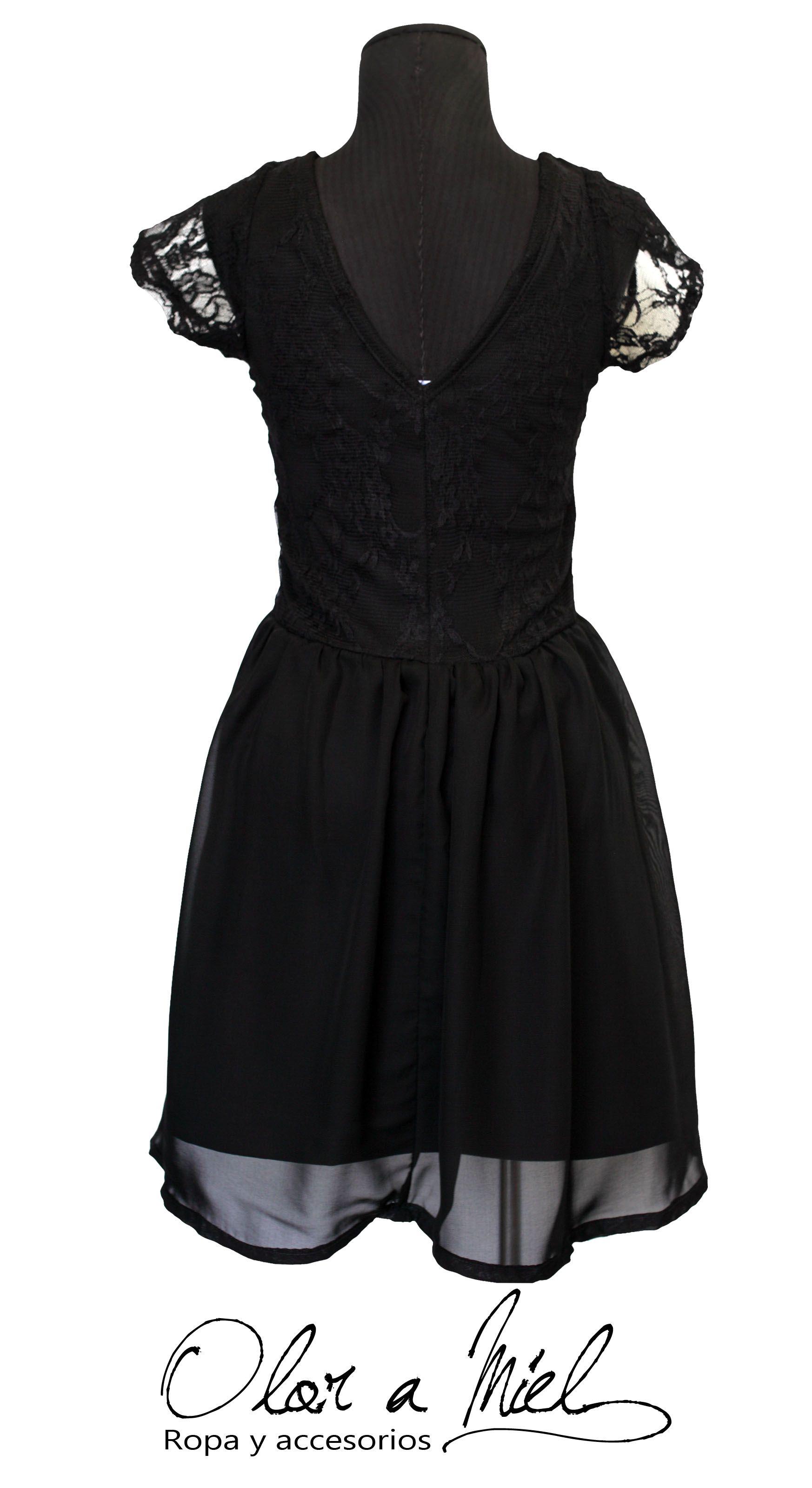Vestido Olor a Miel. Parte superior con encaje color negro . 9d9efd01b77b