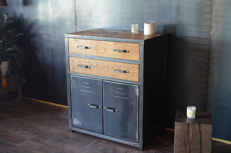 Commode 2 tiroirs 2 portes m lange de l 39 acier et du bois cr ation sur mesure micheli - Restauration meuble industriel ...