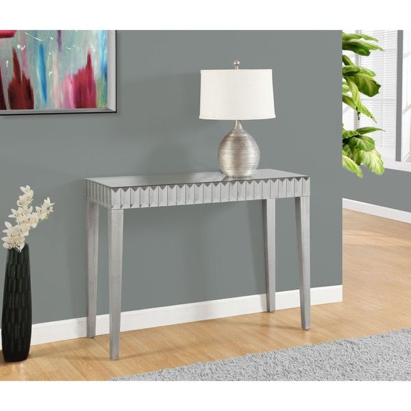 Console Table 42 L Brushed Silver Mirror