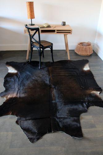 Genuine Quality Cowhide Rug - Large Black Brown 12032