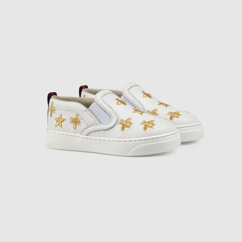 e03d264dd5b Gucci Toddler bees and stars leather sneaker Detail 2 Gucci Sneakers