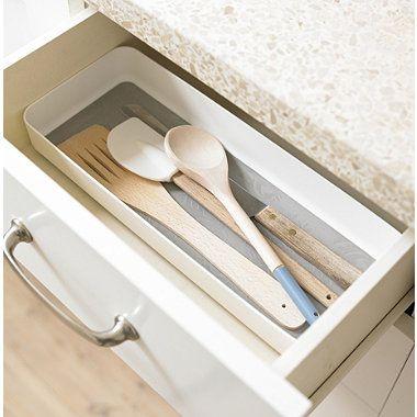Stay Put Drawer Organiser Individual Utensil Tray Large White
