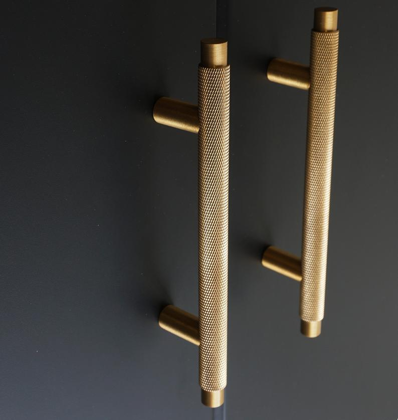 Knurled T Bar Solid Brass Cabinet Handles Brass Door Handles Etsy Brass Door Handles Brass Cabinet Handles Door Handles