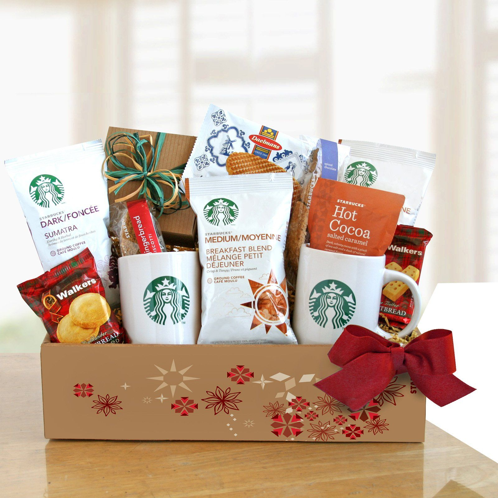Starbucks Home For The Holidays Gift Basket Www Hayneedle Com Starbucks Coffee Gifts Coffee Gifts Holiday Gift Baskets