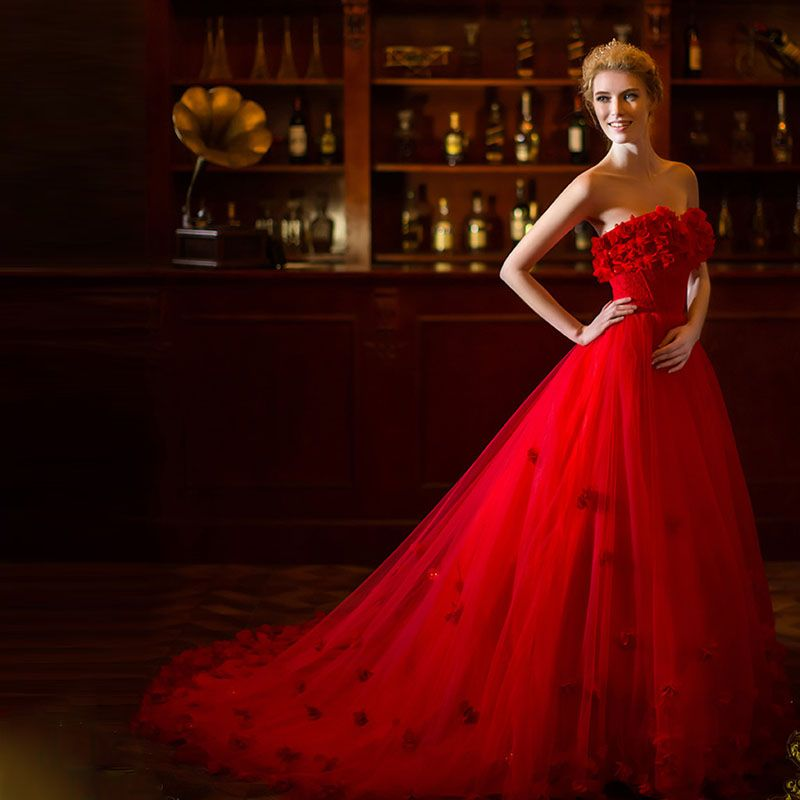 Vestido De Noiva Longo Quality Wedding Gowns Directly From China Tulle Dress Suppliers 2017 Off The Shoulder Red A Line