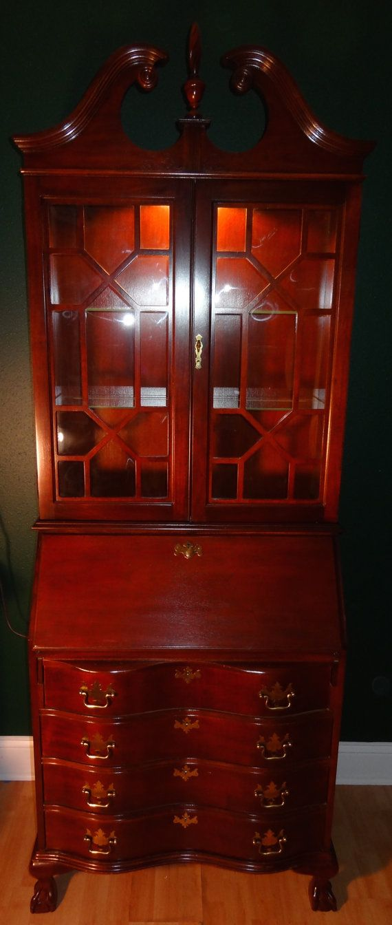 Vintage Wood/Glass Jasper Cabinet Colonial Red By BooCooMercatus
