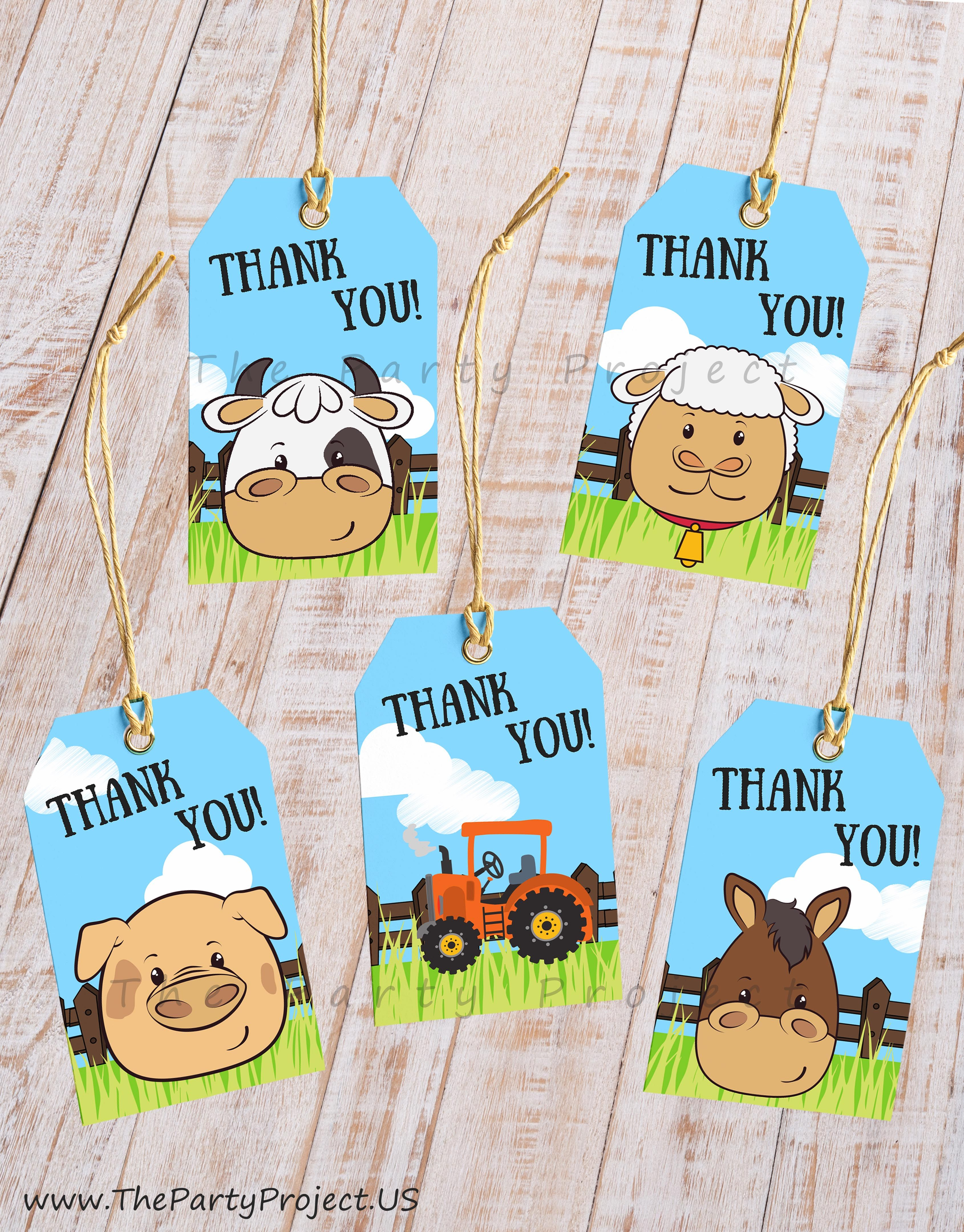 10 Different Designs Farm Animal Faces Thank You Tags Barntard Party Printables