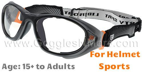 e0188d824a1 Rec Specs F8 Helmet Spex XL Prescription Sports Goggles in Gunmetal Orange