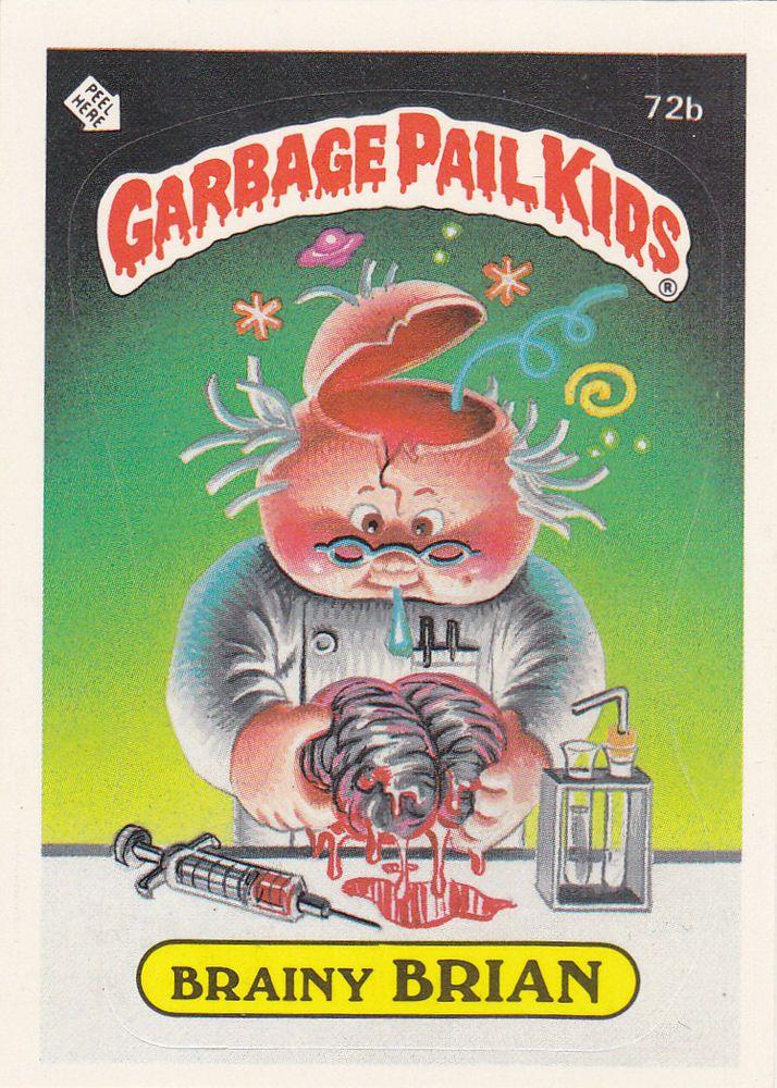 1985 Garbage Pail Kids Brainy Brian Card Free Shipping Garbage Pail Kids Garbage Pail Kids Cards Pail