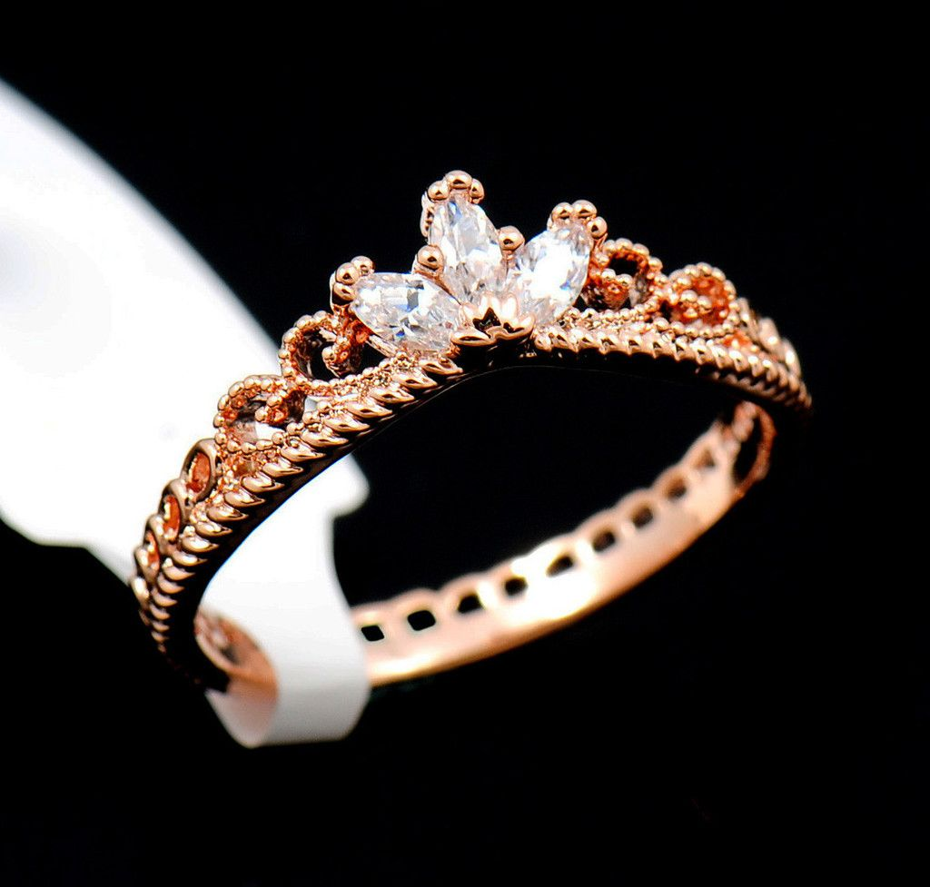 Rose Gold Plated Cz Dainty Crown Ring Rose Gold