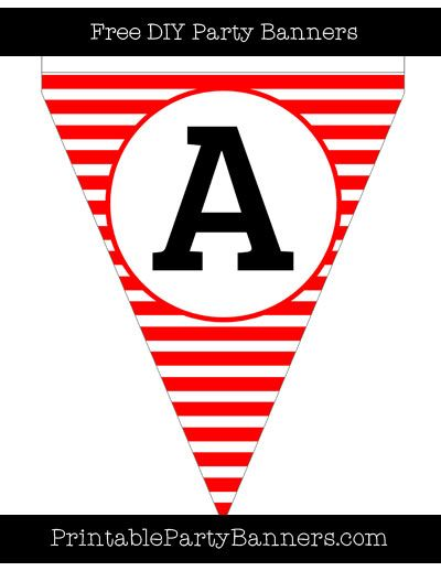 Red and White Pennant Horizontal Striped Capital Letter A