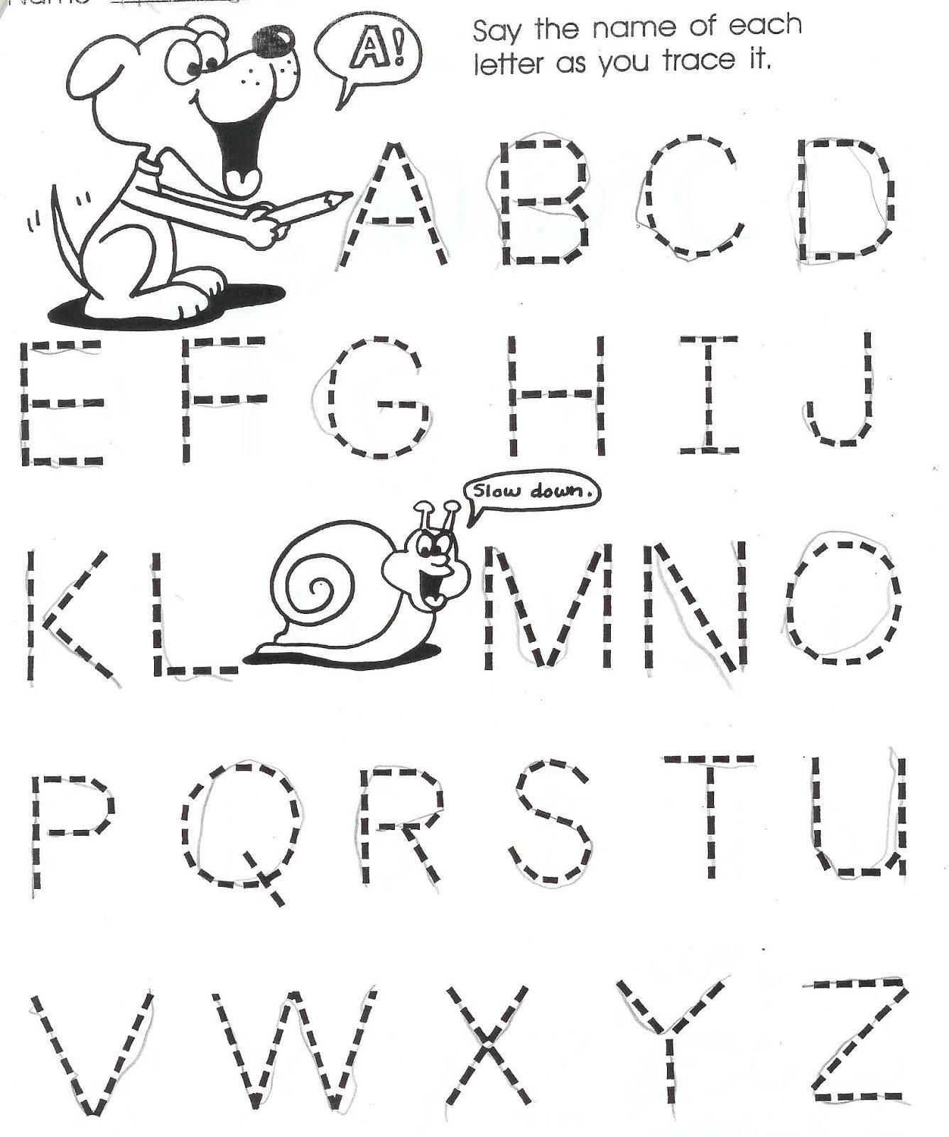 Alphabet Tracing Worksheets For 3 Year Olds In