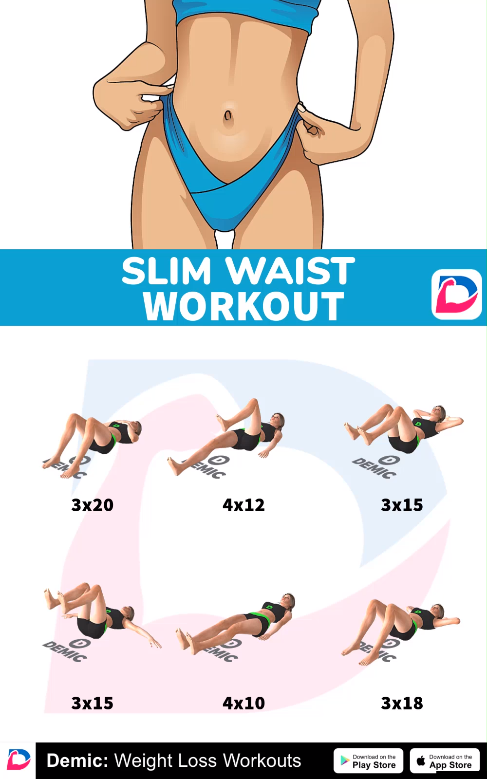 Slim Waist Workout  #gymworkouts #bellyfat #fatburn #burnfat #weightlose #fitness #workout #demicapp
