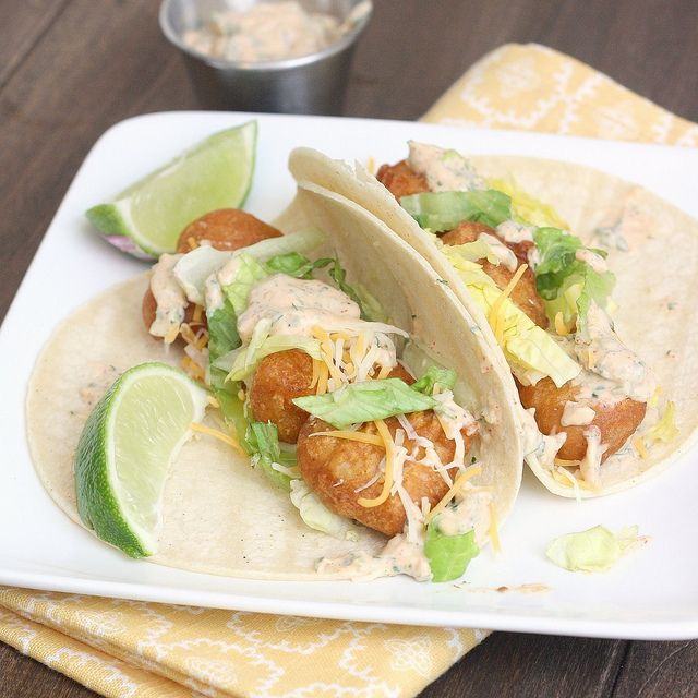Beer Battered Fish Tacos.  These look so good.