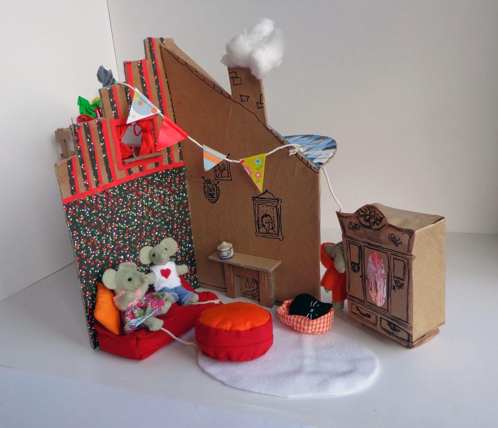 Een poppenhuis maken van karton poppenhuis pinterest muizen speelgoed en poppen - Doos huis wereld ...