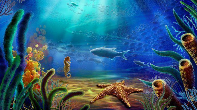 Beautiful Landscape Under The Water Sea Animals Underwater Wallpaper Underwater Painting Art Wallpaper
