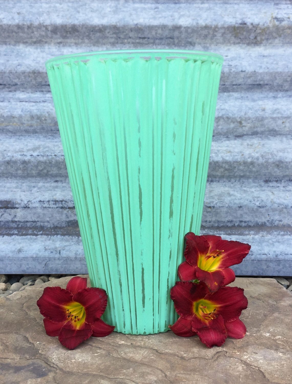 Shabby chic large mint green vase distressed green floral vase shabby chic large mint green vase distressed green floral vase or candle holder by oshabbyday reviewsmspy