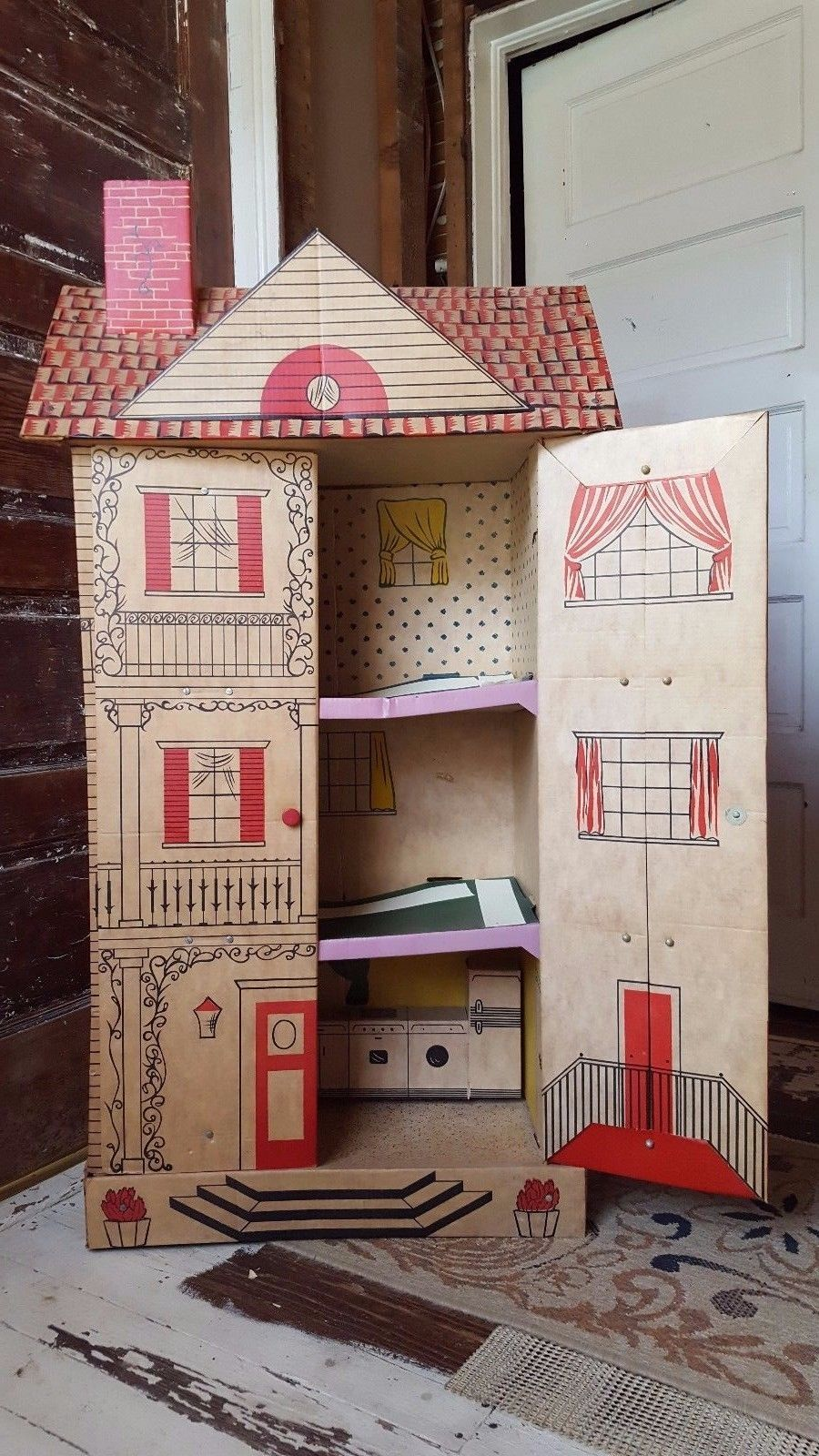Vintage Antique Cardboard Dollhouse Doll House Ebay Cardboard Dollhouse Diy Dollhouse Diy Barbie House