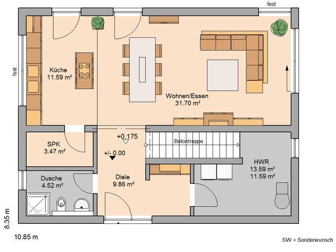 Bauhaus Etos von Kern-Haus Offene Küche als Mittelpunkt Haus