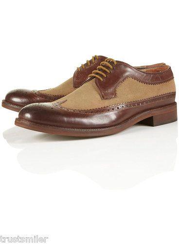 TOPMAN Arthur Brown Leather Mix Brogue Shoes