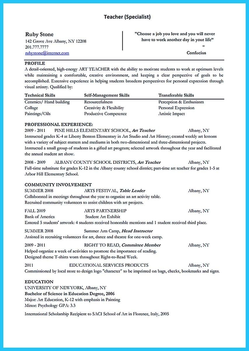 awesome Creative and Extraordinary Art Teacher Resume for