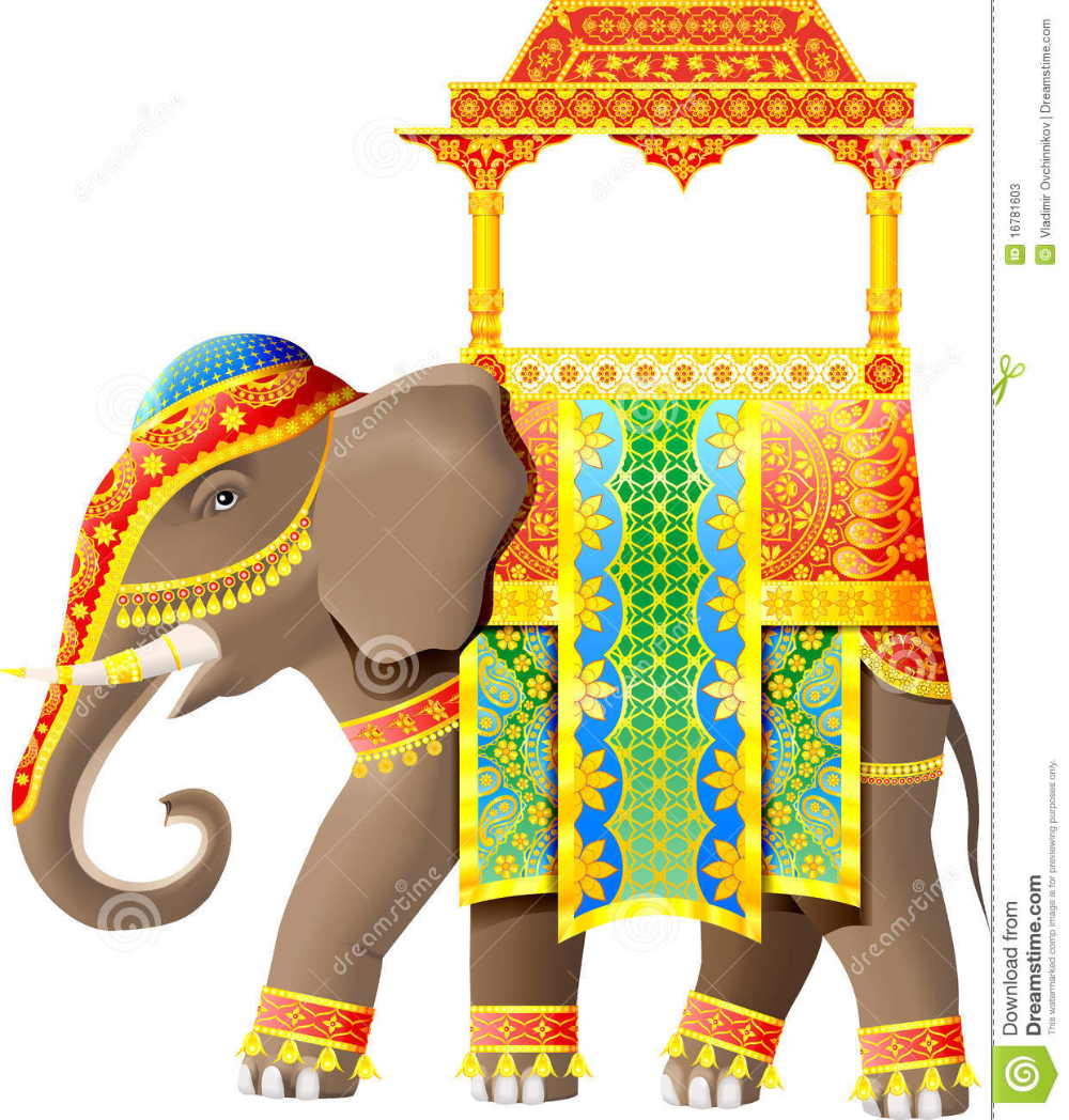 Decorated Indian Elephant Clipart Black ... en 2020 ...