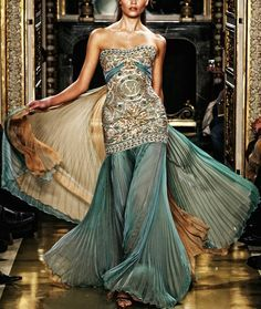 Zuhair Murad teal and gold dress