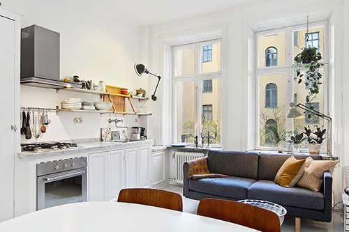 Woonkamer Keuken Kleine : Kleine woonkamer met open keuken keuken in