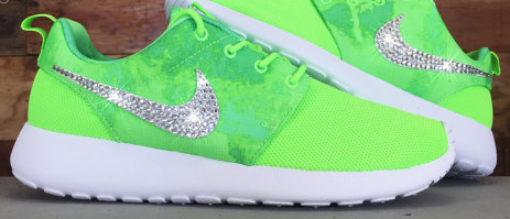 Over Half Off Crystal Nike Roshe Runs Custom Shoes With Swarovski Crystal  Rhinestones Pale Green Running 483a05a1f1