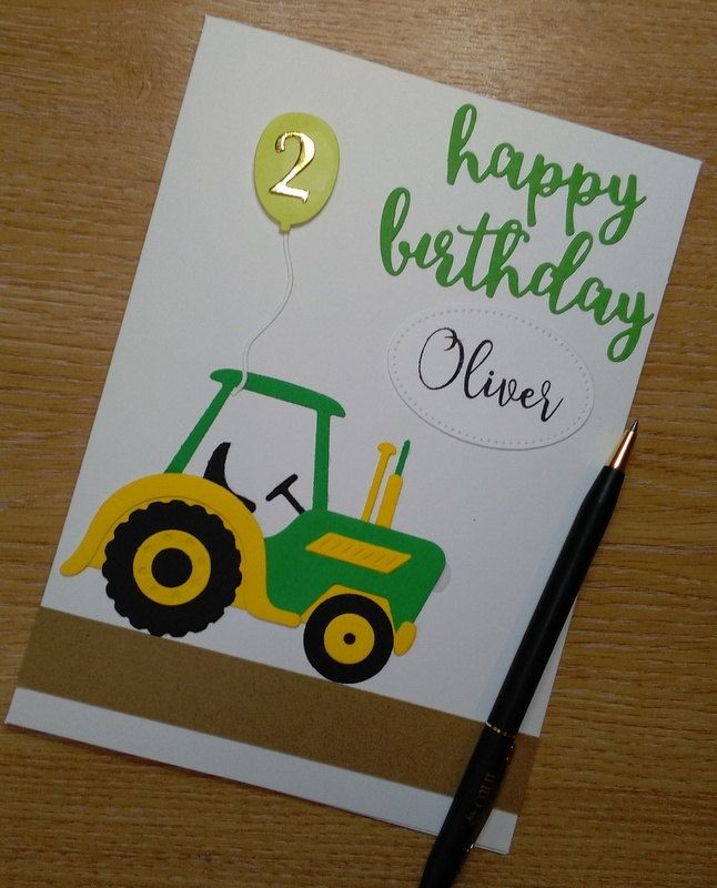 Personalised Child Birthday 2 Years Old 2nd Farmer Tractor Card For Boy Or Girl Can Be Made Any Age SEE DESCRIPTION By CraftyCardsAOR On