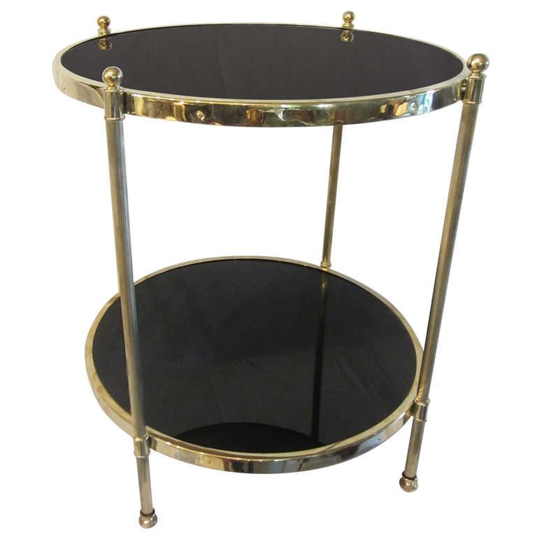 Best Two Tier Brass And Black Glass Side Table At 1Stdibs 640 x 480