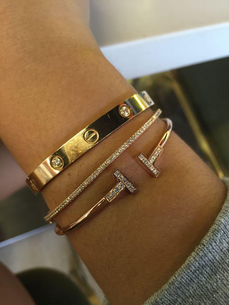 Cartier. Tiffanys and EllieMae bracelets. Stack em up