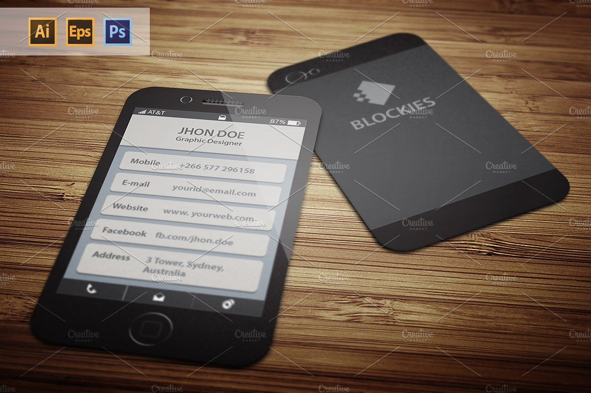Iphone 6 (25% Off) Business Card by JigsawLab on @creativemarket ...