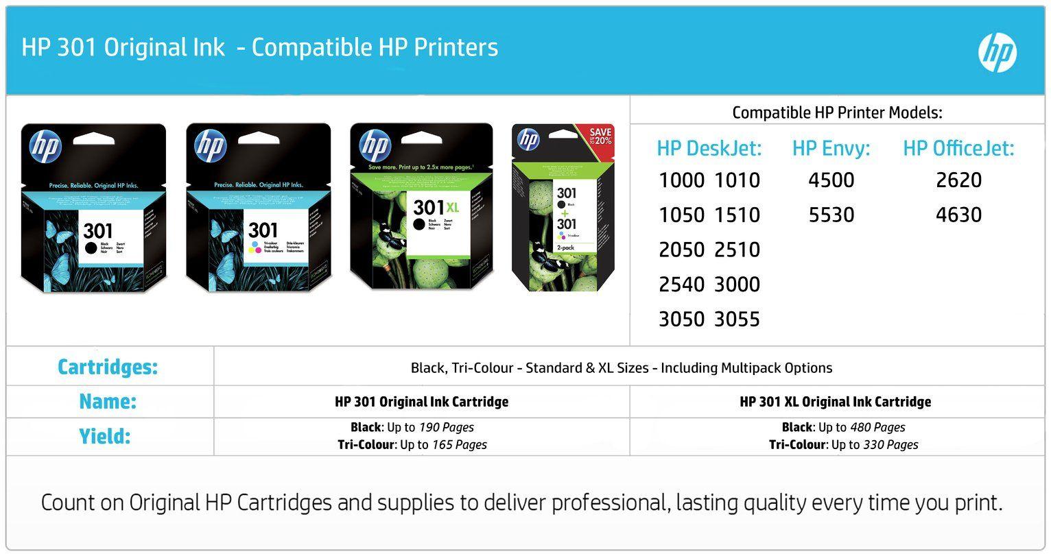 Hp 301 Original Ink Cartridge Colour In 2020 Black Printer Ink