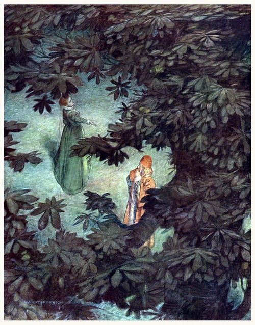 Olivia: Well, come again to-morrow; fare thee well.  William Heath Robinson, from Shakespeare's comedy of Twelfth night : or, What you will, by William Shakespeare, New York, 1908.