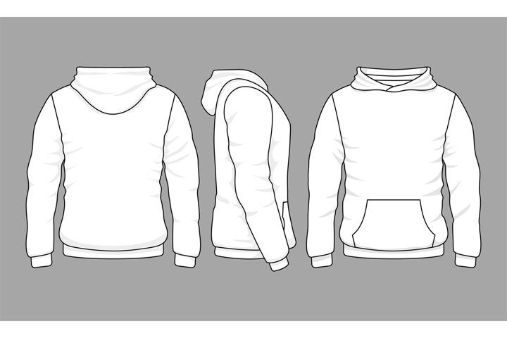Male Hoodie Sweatshirt In Front Back And Side Views 893029 Illustrations Design Bundles In 2021 Hoodie Vector Hoodie Illustration Hoodie Template