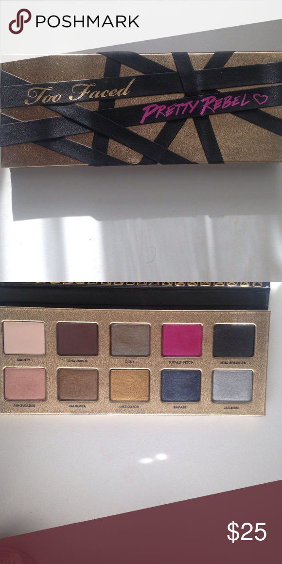 Too faced pretty rebel eyeshadow palette A very beautiful palette. The shadows are smooth and blendable. Only used a few times and not all of the shadows have been touched. In good condition Too Faced Makeup Eyeshadow