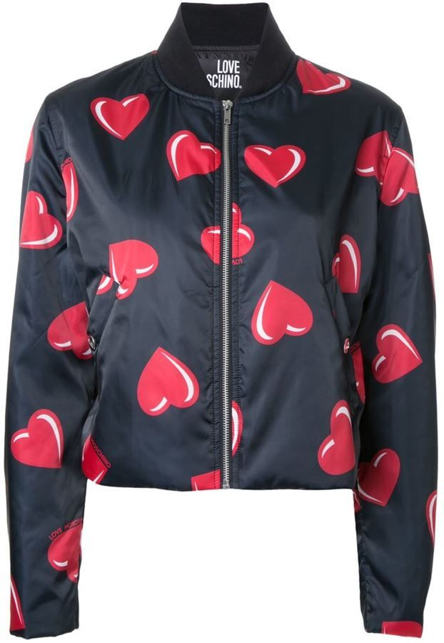 8c3aabaeb96d9 Love Moschino heart print bomber jacket